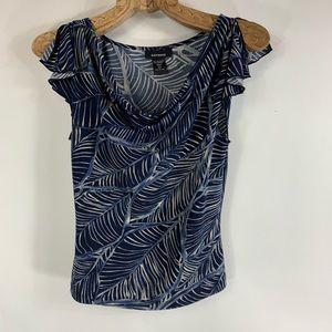 Express Drape Neck Blue Tropical Print Top XS